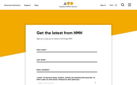 Screenshot of Signup Page hmhco.com - Get the latest from HMH - captured March 29, 2019