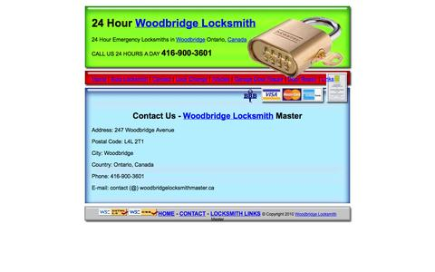 Screenshot of Contact Page woodbridgelocksmithmaster.ca - Contact Us - Woodbridge Locksmith Master - captured Oct. 26, 2014