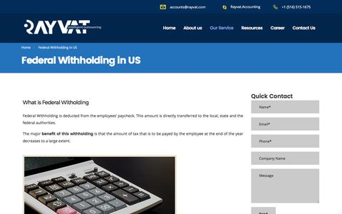 Federal Withholding in US - Rayvat Accounting