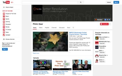 Screenshot of YouTube Page youtube.com - Philm Gear  - YouTube - captured Oct. 22, 2014