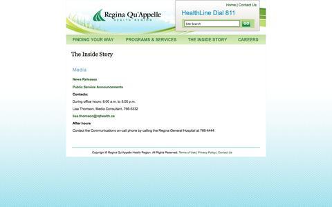 Screenshot of Press Page rqhealth.ca - RQHR Media Contacts - captured Oct. 1, 2014
