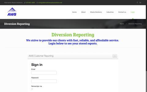 Screenshot of Login Page alternativewastesolutions.com - Diversion Reporting   Serving Greater Atlanta, Georgia - captured Oct. 8, 2017