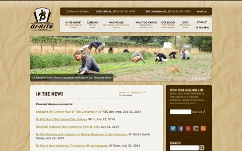 Screenshot of Press Page biritemarket.com - Bi-Rite Market > In the News - captured Sept. 30, 2014