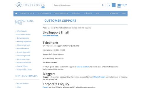 Screenshot of Support Page contactlenses.in - Customer Support :: Buy Cheap Contact lenses in India :: Buy Cheap Contact lenses in India - captured Dec. 1, 2018