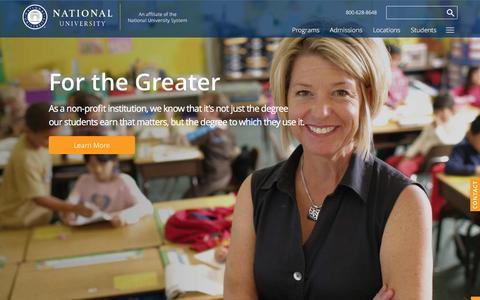 Screenshot of Home Page nu.edu - National University - captured Feb. 2, 2016