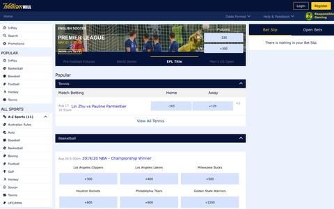 Screenshot of Contact Page williamhill.com - William Hill US Sports Betting Online | America's #1 Sportsbook - captured Aug. 17, 2019