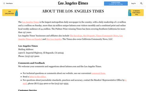 Screenshot of About Page Contact Page latimes.com - About the Los Angeles Times - Los Angeles Times - captured July 17, 2019