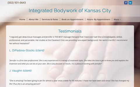 Screenshot of Testimonials Page integratedbodyworkkc.com - Integrated Bodywork of Kansas City - captured Oct. 12, 2018
