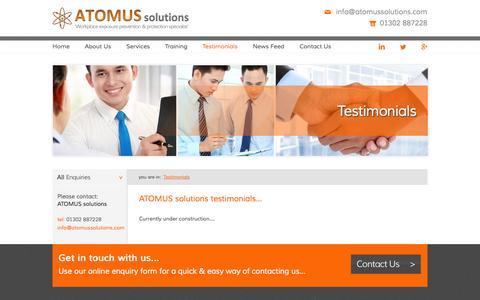 Screenshot of Testimonials Page atomussolutions.com - ATOMUS solutions :: Testimonials - captured Sept. 26, 2014