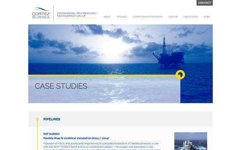 Screenshot of Case Studies Page cortezsubsea.com - Cortez Subsea - Case Studies - captured Sept. 30, 2014