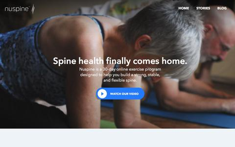 Screenshot of Home Page nuspine.com - Nuspine – Spine Health at Home - captured Sept. 21, 2018