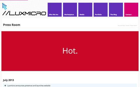 Screenshot of Press Page luxmicro.com - Press Room - //Luxmicro - captured Feb. 2, 2016