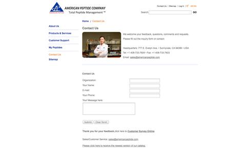 Screenshot of Contact Page americanpeptide.com - Contact Us - Custom Peptides, Pharmaceutical-Grade Peptides: American Peptide Company - captured Oct. 4, 2014