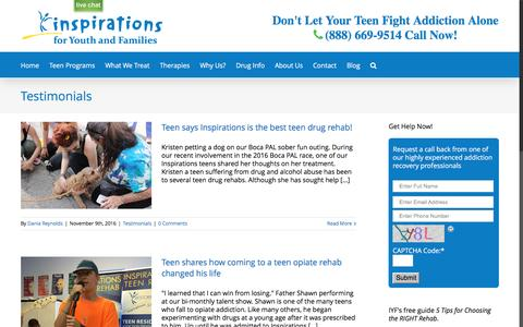 Screenshot of Developers Page inspirationsyouth.com - Testimonials Archives - Inspirations for Youth and Families | Teen Drug Rehab - captured Nov. 11, 2016