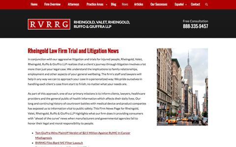 Screenshot of Press Page rheingoldlaw.com - Firm News | Rheingold, Valet, Rheingold, Ruffo & Giuffra LLP | - captured Nov. 30, 2016