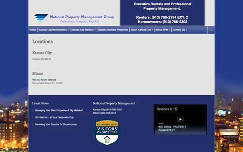Screenshot of Locations Page national-property-management-group.com - Kansas City Homes for Rent & Property Management Services   Locations - captured Dec. 25, 2016