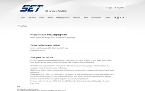 Screenshot of Privacy Page setgroup.com - Privacy Policy - SET srl. Vicenza Verona Padova Treviso Venezia Pordenone Telefonia Voip AVAYA, Data Center, Reti Wifi, Firewall, Videosorveglianza - captured Sept. 26, 2014