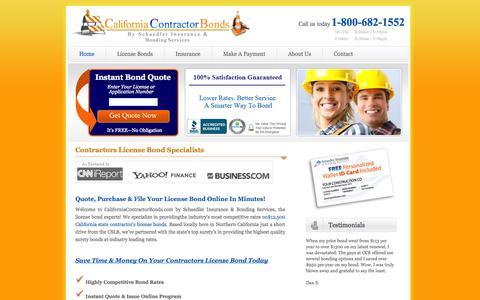 Screenshot of Home Page californiacontractorbonds.com - CaliforniaContractorBonds.com - captured Sept. 27, 2014