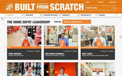 Screenshot of Team Page homedepot.com - The Home Depot | Leadership - captured Oct. 10, 2018