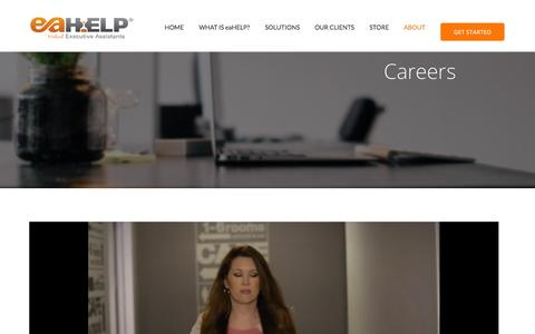 Screenshot of Jobs Page eahelp.com - Careers with eaHELP! Become a Virtual Assistant!   eaHELP - Virtual Assistants - captured Oct. 6, 2015