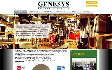 Screenshot of Home Page genesyscorp.net - GENESYS Systems Integrator - captured Oct. 6, 2016