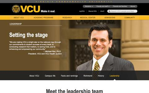 Screenshot of Team Page vcu.edu - Leadership – Virginia Commonwealth University - captured Sept. 18, 2014