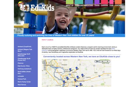 Screenshot of Locations Page edukidsinc.com - WNY Preschool & Learning Center | Edukids - captured Oct. 2, 2014