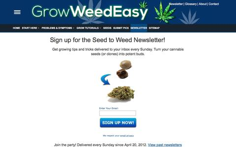 Screenshot of Press Page growweedeasy.com - Sign up for the Seed to Weed Newsletter! | Grow Weed Easy - captured Sept. 30, 2019