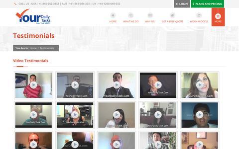 Screenshot of Testimonials Page yourdailytask.com - Video Testimonials   YourDailyTask   Virtual Assistant Experts - captured Jan. 31, 2018