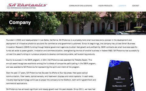 Screenshot of About Page saphotonics.com - Company – SA Photonics - captured July 12, 2019