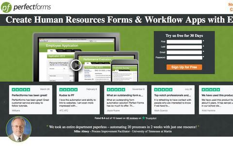 Screenshot of Landing Page perfectforms.com - HR Management Software - PerfectForms - captured Sept. 19, 2018