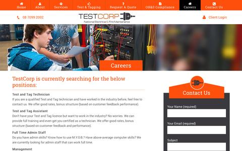 Screenshot of Jobs Page testcorp.com.au - Careers | Test And Tag Expert | Testcorp - captured Dec. 22, 2016