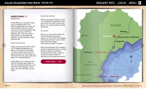 Screenshot of Maps & Directions Page campmanitou.com - Directions to Manitou - An Oakland, Maine Summer Camp  Ń  Camp Manitou - captured Dec. 7, 2015