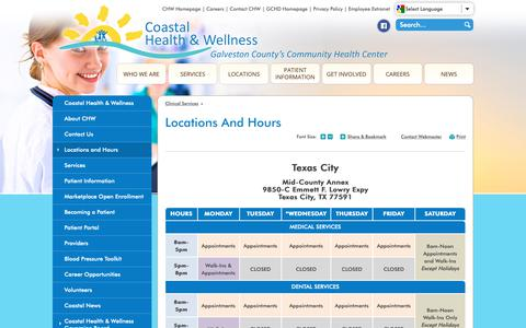 Screenshot of Locations Page gchd.org - Locations and Hours | Galveston County Health District - captured Oct. 25, 2018