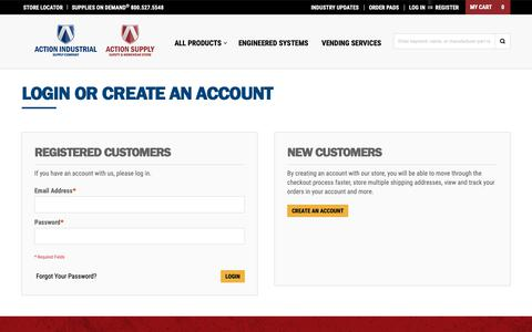 Screenshot of Login Page actionis.com - Customer Login | Action Industrial Supply - captured Oct. 3, 2018