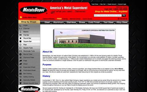 Screenshot of About Page metalsdepot.com - Metals Depot® - About Us - captured Feb. 13, 2016