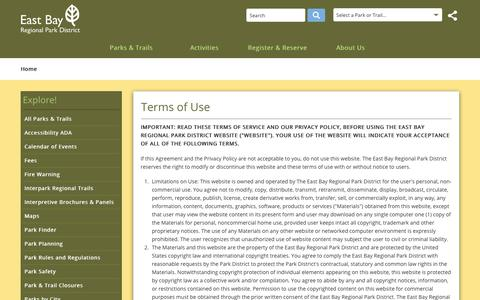 Screenshot of Terms Page ebparks.org - EBRPD - Terms of Use - captured Sept. 26, 2018