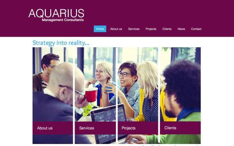 Screenshot of Home Page aquariusconsultants.com - Aquarius Management Consultants - captured Feb. 6, 2016