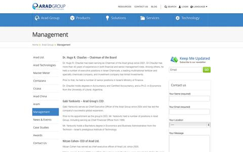 Screenshot of Team Page arad.co.il - Management | Arad Group - captured Oct. 4, 2014