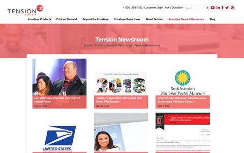 Screenshot of Press Page tensionenvelope.com - Tension Newsroom | Envelope News and Resources | Tension Corporation - captured Feb. 26, 2019