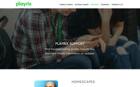 Screenshot of Support Page playrix.com - Support - Playrix - captured July 20, 2018