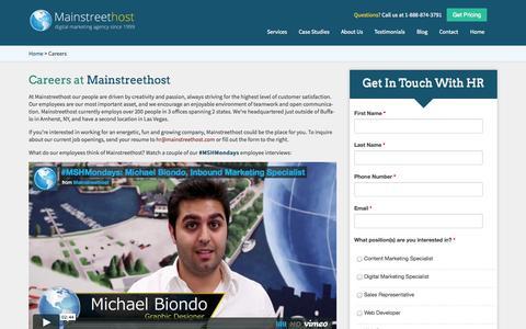 Screenshot of Jobs Page mainstreethost.com - Career Opportunities at Mainstreethost | Buffalo, NY Digital Marketing Agency - captured Sept. 23, 2014