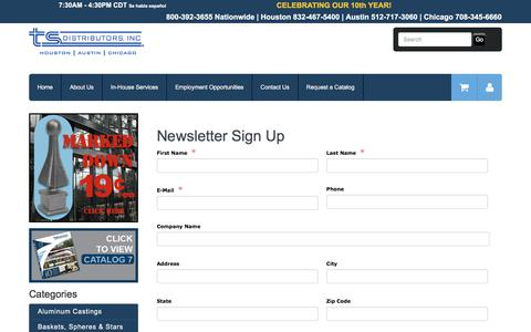 Screenshot of Signup Page tsdistributors.com - TS Distributors | Newsletter Sign Up - captured Nov. 2, 2017