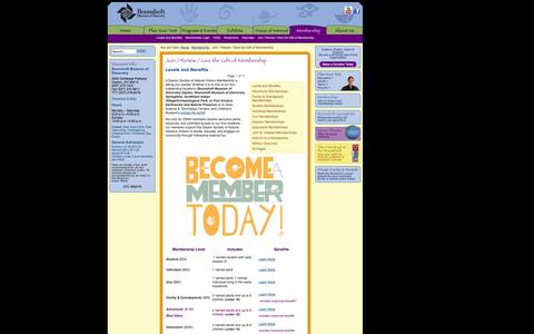 Screenshot of Signup Page boonshoftmuseum.org - Boonshoft - Join / Renew / Give the Gift of Membership - captured Oct. 27, 2014