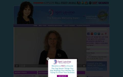 Screenshot of Home Page terrilevine.com - Small Business Growth Coaching & Consulting |  Terri Levine - captured Oct. 7, 2014