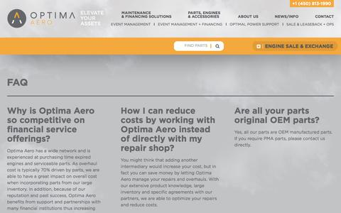Screenshot of FAQ Page optima-aero.ca - FAQ | Optima Aero - captured June 16, 2017