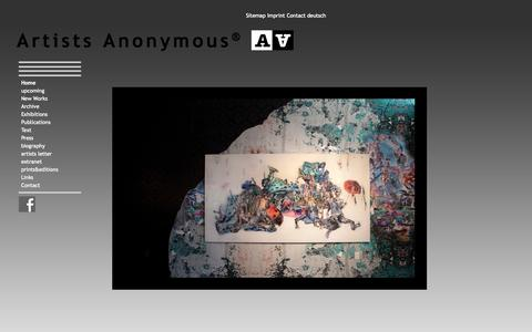 Screenshot of Home Page artists-anonymous.com - Home  - Artists Anonymous - artists-anonymous.com contemporary art - captured Oct. 15, 2015