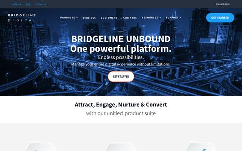 Screenshot of Products Page bridgeline.com - Bridgeline Unbound | CMS, Commerce, Marketing, Social & Insights - captured May 31, 2018