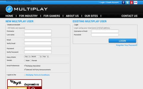 Screenshot of Login Page multiplay.com - Multiplay - captured Sept. 19, 2014