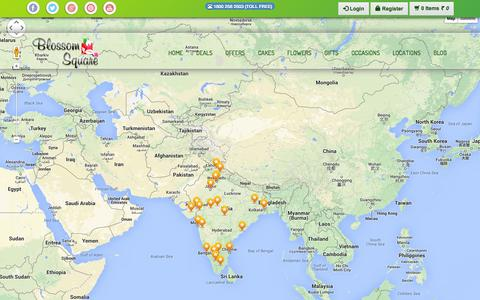 Screenshot of Locations Page blossomsquare.com - Delivery Locations,  Flowers to India - Blossom Square - captured Sept. 24, 2014